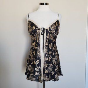 Victoria's Secret Black Gold Floral Nightie Small